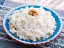 Рецепта Домашна салата Снежанка / Дзадзики / Сух таратор с цедено кисело мляко, пресни краставици и копър